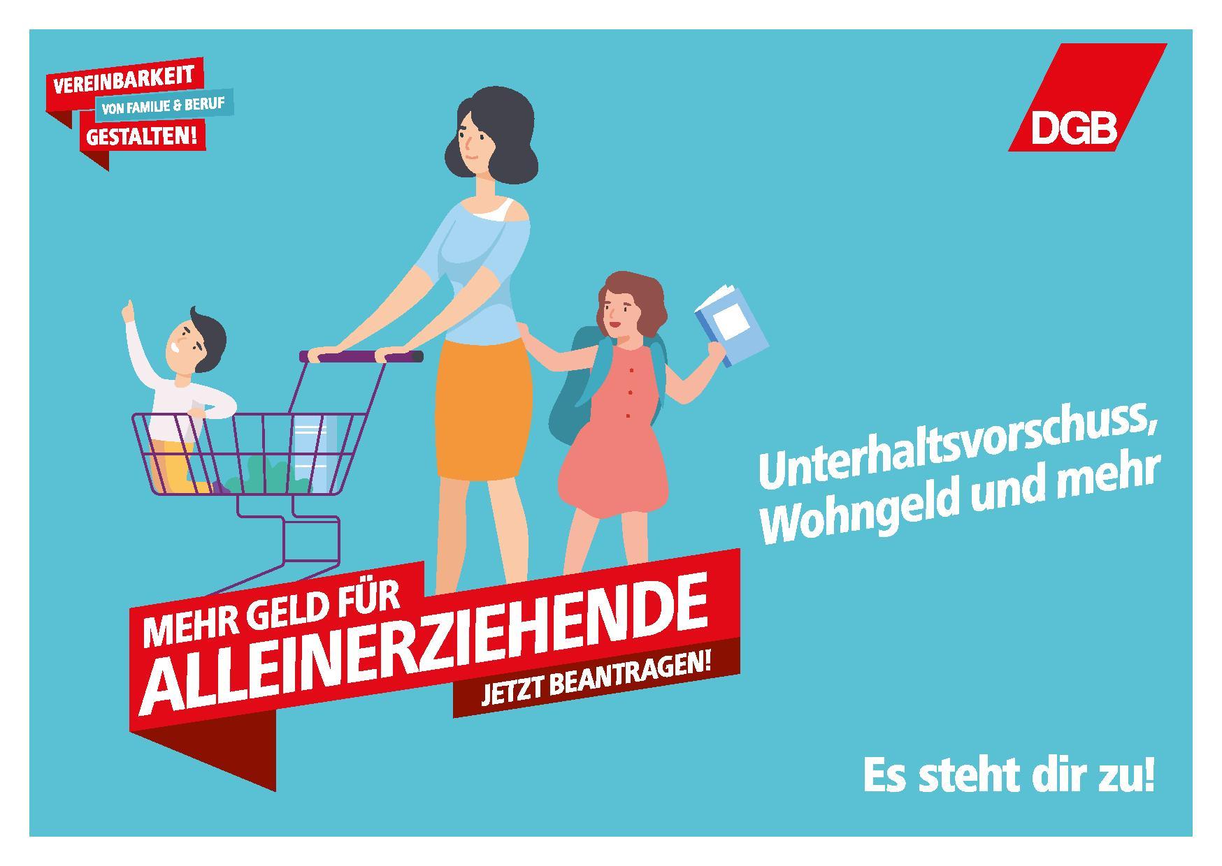 Postkarte Mehr Geld für Alleinerziehende